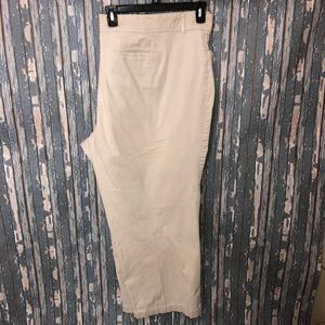 Avenue Easy Waist Khaki Slacks Pants Straight Leg